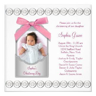 Batismo branco cor-de-rosa da foto do bebé convite quadrado 13.35 x 13.35cm