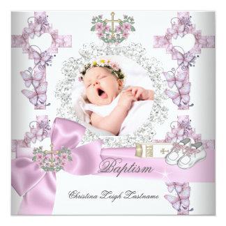 Batismo branco da foto do rosa da menina do convite quadrado 13.35 x 13.35cm