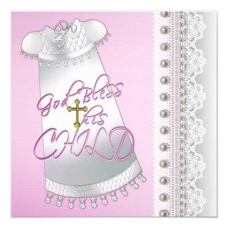 Batismo branco do bebé do vestido das pérolas convite quadrado 13.35 x 13.35cm