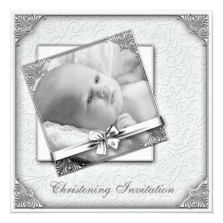 Batismo branco elegante da foto do damasco convite quadrado 13.35 x 13.35cm