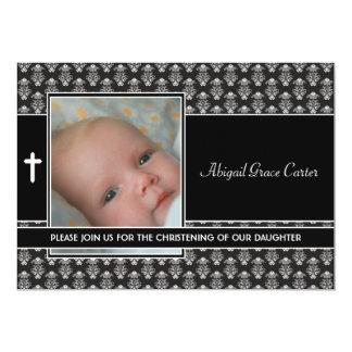 Batismo branco preto da foto do bebé do damasco convite 12.7 x 17.78cm
