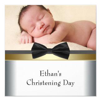 Batismo branco preto da foto do bebé do laço convite quadrado 13.35 x 13.35cm