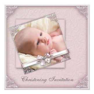 Batismo cor-de-rosa da foto das meninas do damasco convite quadrado 13.35 x 13.35cm