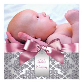 Batismo cor-de-rosa da foto do bebé do damasco convite quadrado 13.35 x 13.35cm