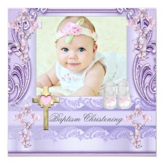 Batismo da foto da menina da cruz do rosa da convite quadrado 13.35 x 13.35cm