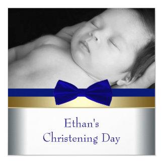 Batismo da foto do bebé do ouro dos azuis marinhos convite quadrado 13.35 x 13.35cm