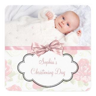 Batismo da foto do bebé do rosa do rosa convite quadrado 13.35 x 13.35cm