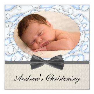 Batismo da foto dos meninos de Brown azul Convite Quadrado 13.35 X 13.35cm
