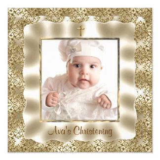 Batismo do baptismo da foto do bebê do laço do convite quadrado 13.35 x 13.35cm