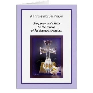 Batismo do filho cartão comemorativo