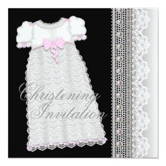 Batismo do preto do rosa do bebé do vestido das convite quadrado 13.35 x 13.35cm