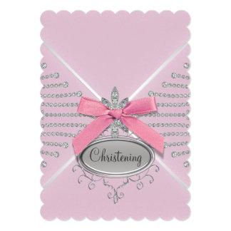 Batismo do rosa do arco do diamante convite 12.7 x 17.78cm