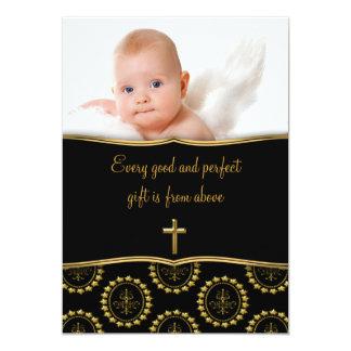 Batismo elegante da foto do bebê do preto e do convite 12.7 x 17.78cm