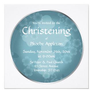Batismo floral do azul da ardósia do Watermark Convite Quadrado 13.35 X 13.35cm
