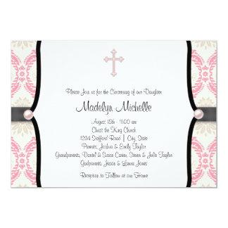 Batismo preto cor-de-rosa do damasco convite 12.7 x 17.78cm