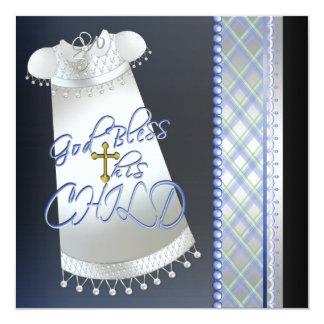 Batismo preto transversal do azul dos meninos do convite quadrado 13.35 x 13.35cm