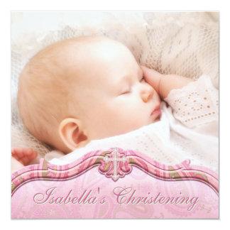 Batismo verde cor-de-rosa da foto do bebé de convite quadrado 13.35 x 13.35cm