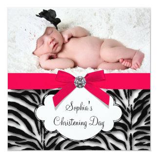 Batismo vermelho da foto do bebé da zebra convite quadrado 13.35 x 13.35cm