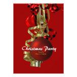 Baubel do vermelho do ouro da festa natalícia do N Convites