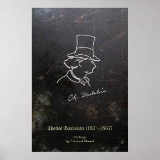 Baudelaire no chapéu alto impressão