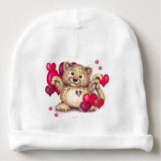 Beanie do algodão do bebê do AMOR do LEOPARDO Gorro Para Bebê