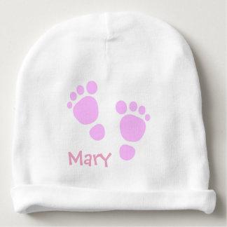 Beanie personalizado com pés cor-de-rosa gorro para bebê