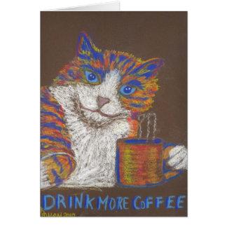 Beba mais cartão do gato do café