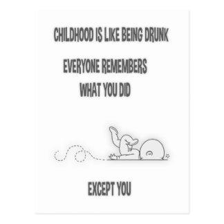 Bebado da infância cartão postal