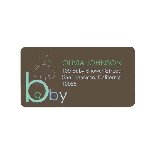 """Bebê """"a"""" em etiquetas bonitos azuis do chá de etiqueta de endereço"""