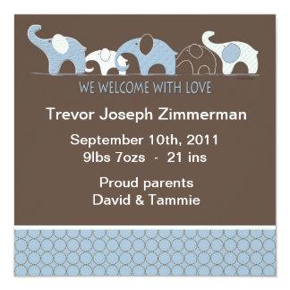 Bebê azul Annoucement do elefante sem foto Convite Quadrado 13.35 X 13.35cm