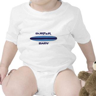 Bebê azul do surfista camiseta