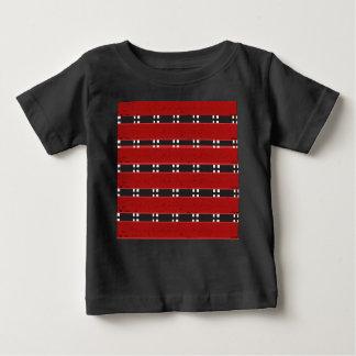 Bebê BARES finos do t-shirt RED/BLACK do jérsei