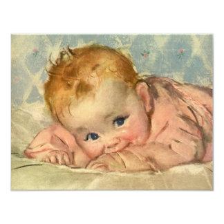 Bebé bonito da criança do vintage no convite geral