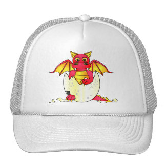 Bebê bonito do dragão em ovo rachado - vermelho/am boné