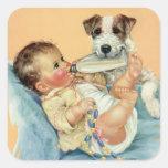 Bebé bonito do vintage com o cão da garrafa e de adesivo quadrado