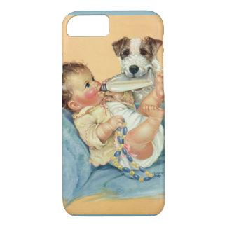 Bebé bonito do vintage com o cão da garrafa e de capa iPhone 7