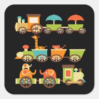 Bebê bonito dos miúdos dos presentes do trem dos a adesivo quadrado