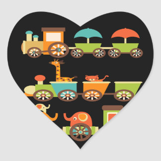 Bebê bonito dos miúdos dos presentes do trem dos adesivo em forma de coração
