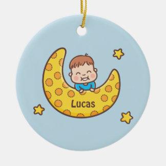 Bebé bonito no ornamento personalizado lua
