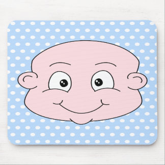 Bebé bonito, no teste padrão de bolinhas azul mousepad