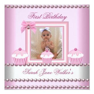Bebê branco da pérola dos cupcakes do rosa da convite quadrado 13.35 x 13.35cm