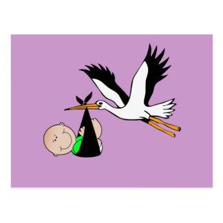 Bebê & cegonha recém-nascidos cartão postal
