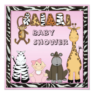Bebé & chá de fraldas dos animais do safari convite quadrado 13.35 x 13.35cm