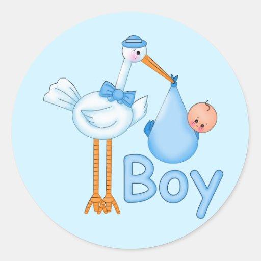 Bebé com cegonha adesivo redondo