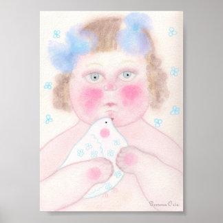 Bebé com o desenho da pomba da paz poster