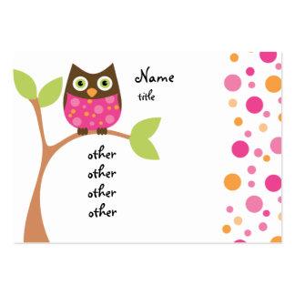 Bebê cor-de-rosa brilhante da coruja cartão de visita grande