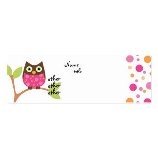 Bebê cor-de-rosa brilhante da coruja cartão de visita skinny