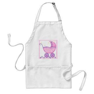Bebê cor-de-rosa da carruagem do carrinho de bebê avental