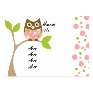 Bebê cor-de-rosa da coruja cartões de visita