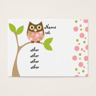 Bebê cor-de-rosa da coruja cartão de visitas